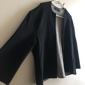 Zara Black Oversized Crop Boxy Knit Blazer Sweater